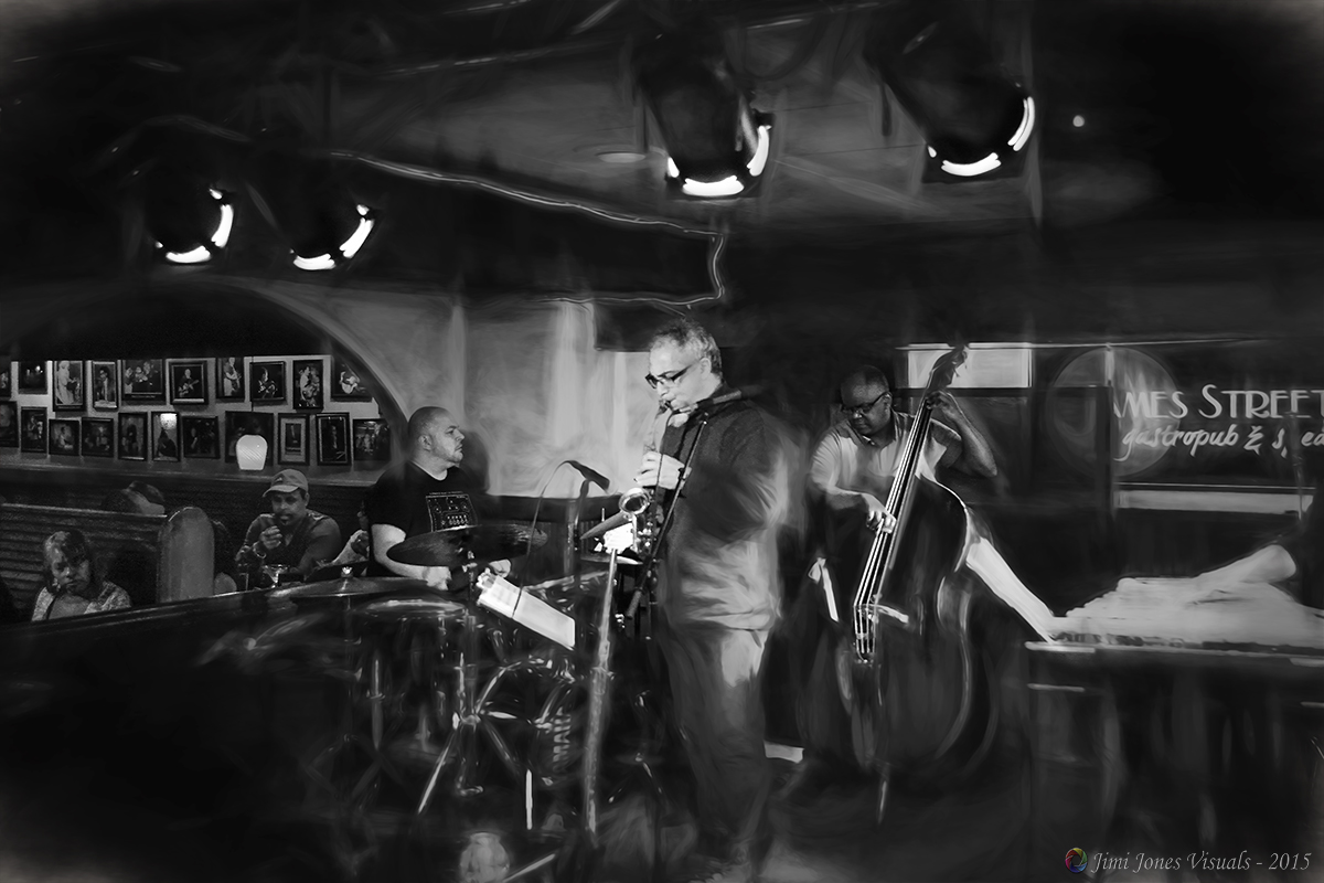 Live Music at James Street Speakeasy - Black and White Photography - Topaz Impressions