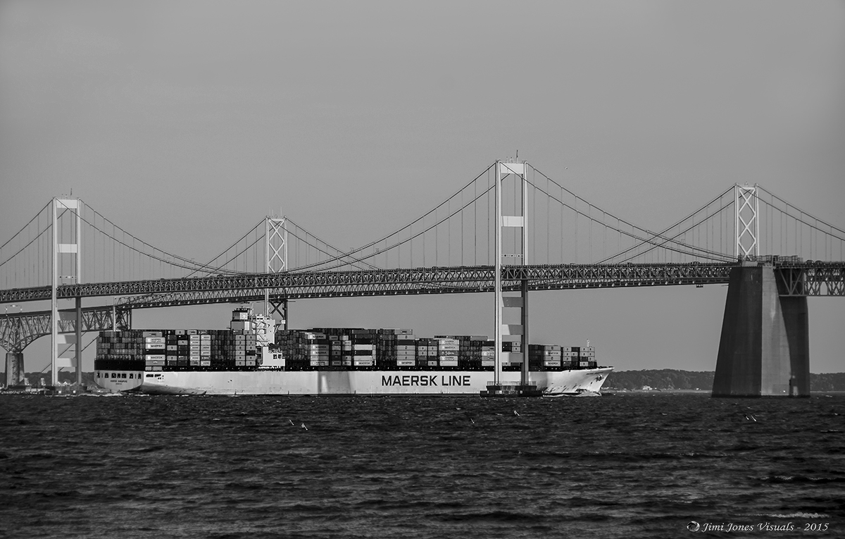 Maersk Line Container Ship - Black and White Photography