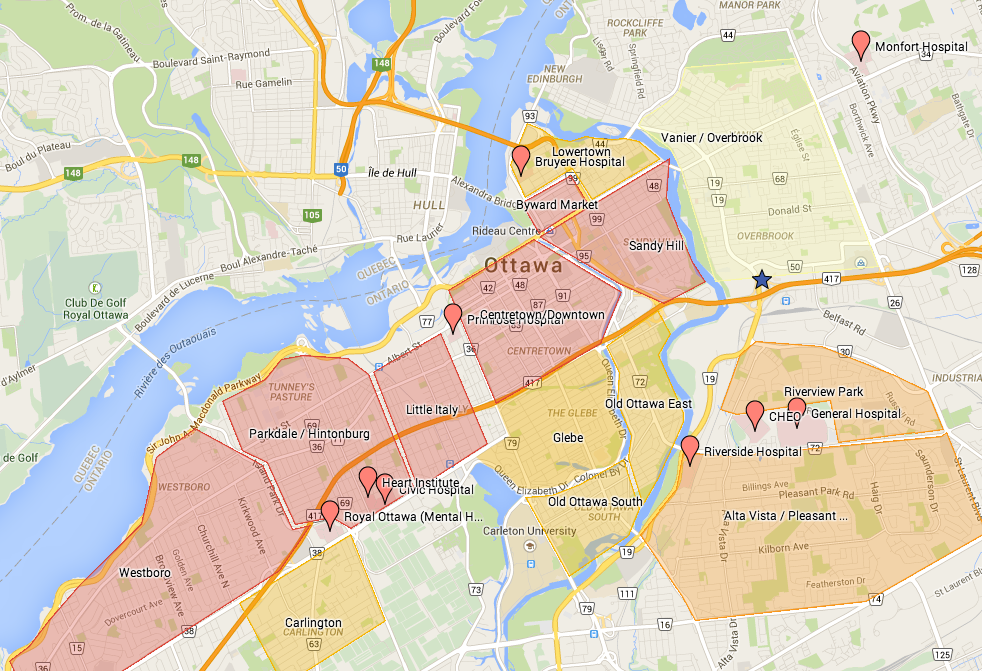 Ottawa Hospitals Map for CaRMS tour 2015
