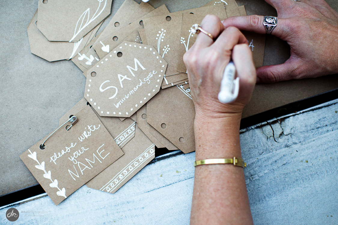 Adorable hand drawn name tags by  Amanda from Love Creative