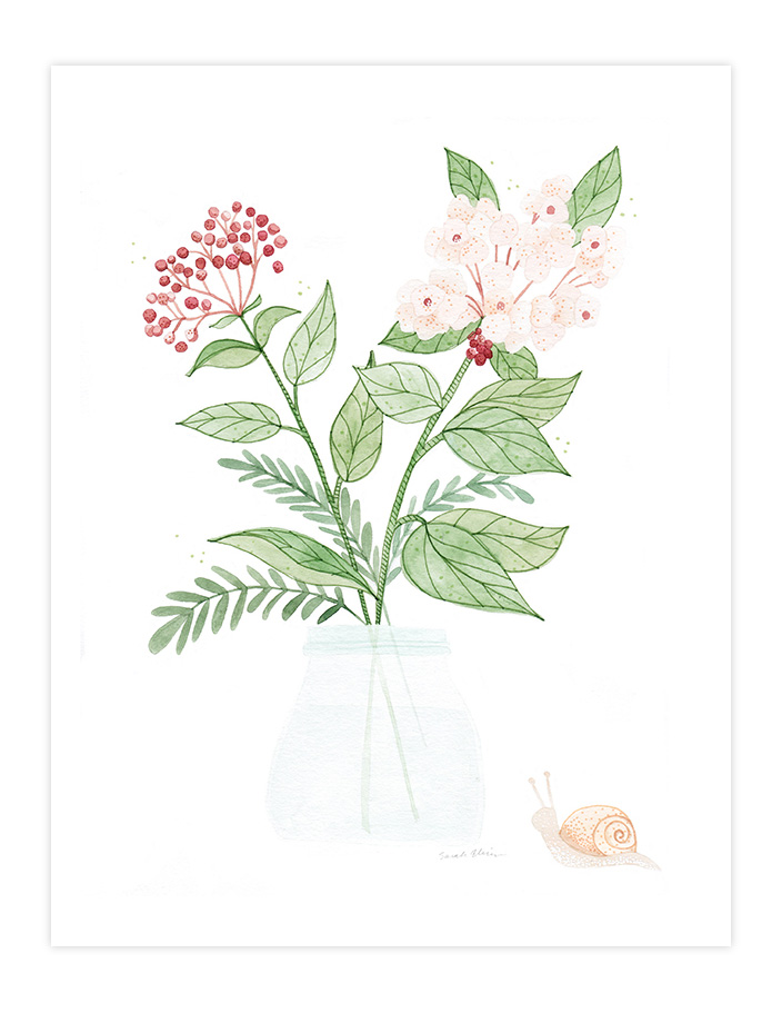 Very Sarie bouquet & snail painting illustration