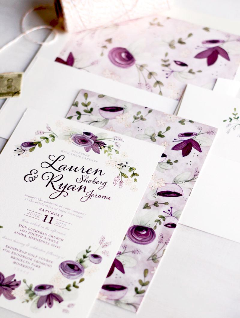 Very Sarie Custom Floral Wedding Invitations