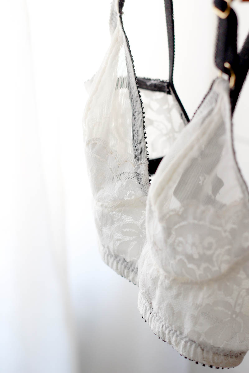 watson bra in white with black and gold accents