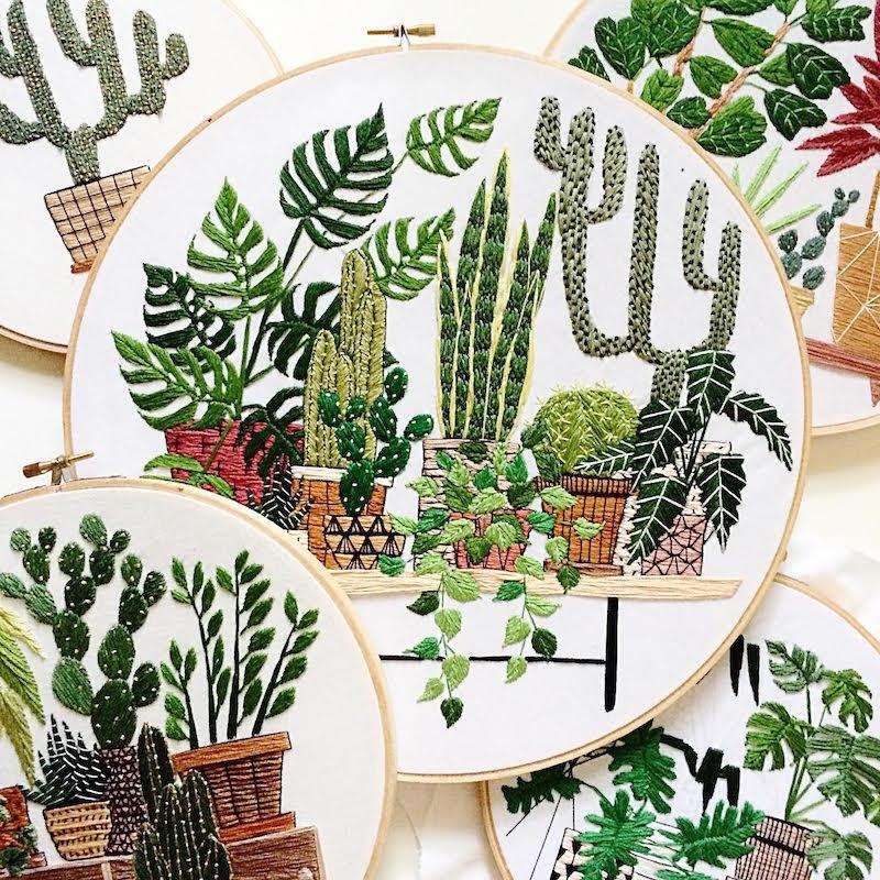 Succulent and Cactus Embroidery Art Via Sarah K Benning