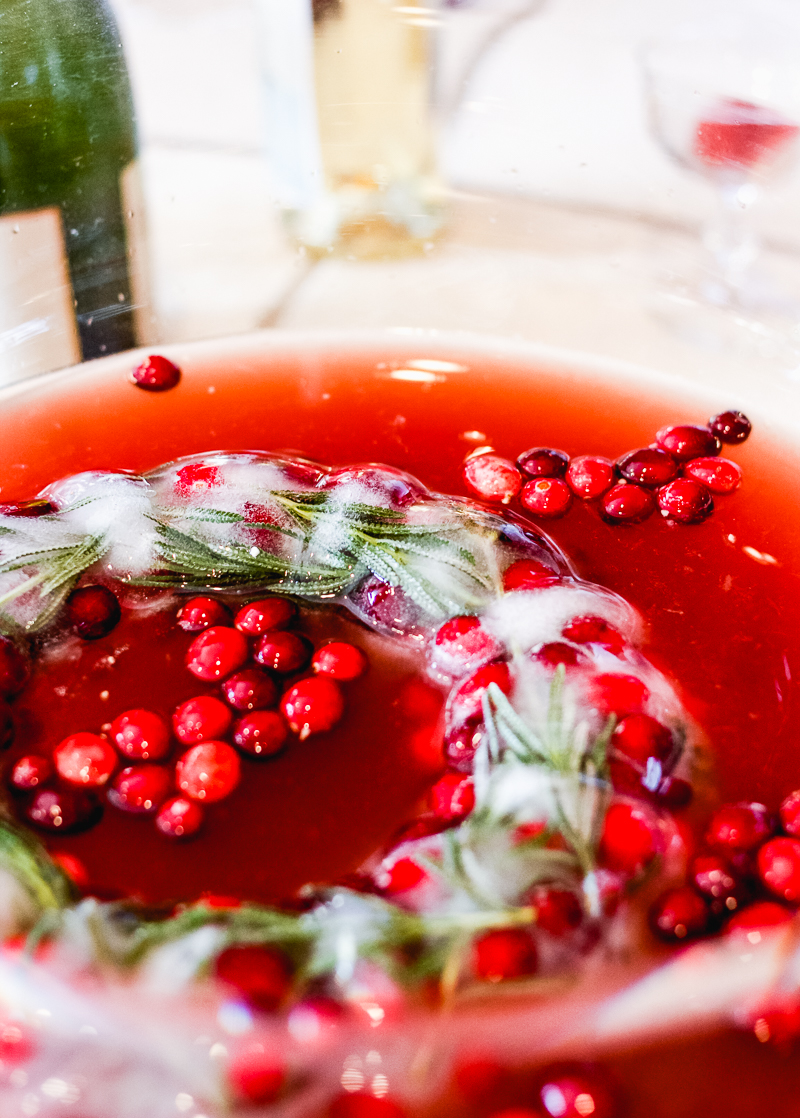 Cranberry Lavender Ice Mold Punch Bowl