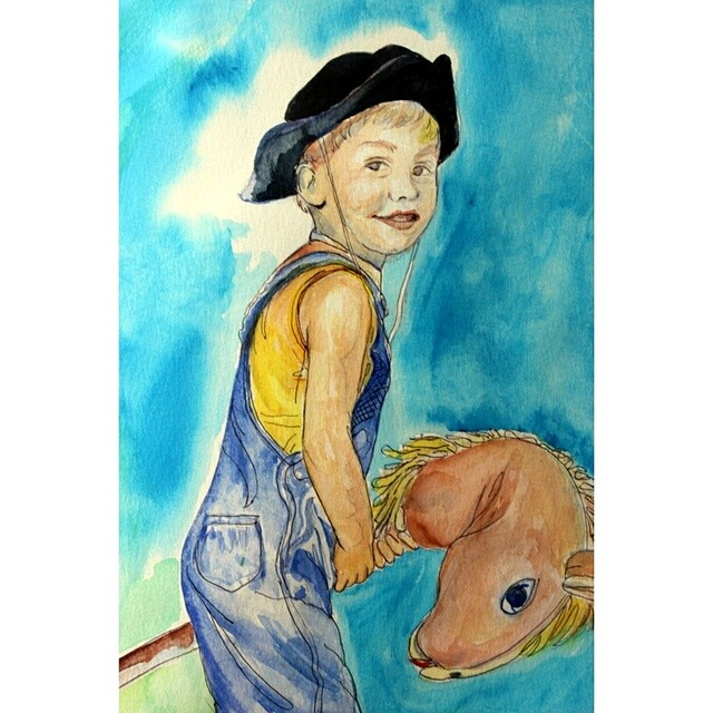 This is a watercolor of my first son when he was little. Now his wedding is next weekend and I'm working on special watercolors and sketches for his special day. Can't believe how fast time flies! #watercolor #portrait #boy #cowboy #jackielynnart
