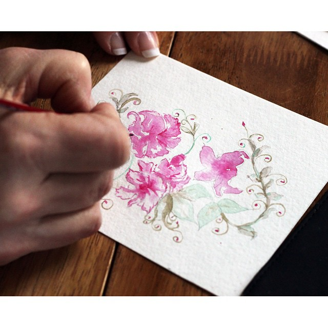 Working on some new art for spring! Excited to launch some new prints and stationary soon. #watercolor #jackielynnart