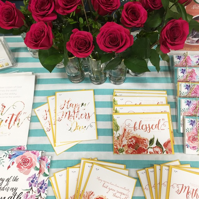 Part of our booth setup for today's craft show. We'll be at Rockford Christian Elementary until 3pm--come see our new floral prints and cards! #jackielynnart