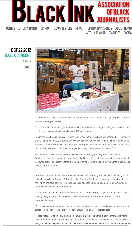 Black Ink, Hofstra Association of Black Journalist