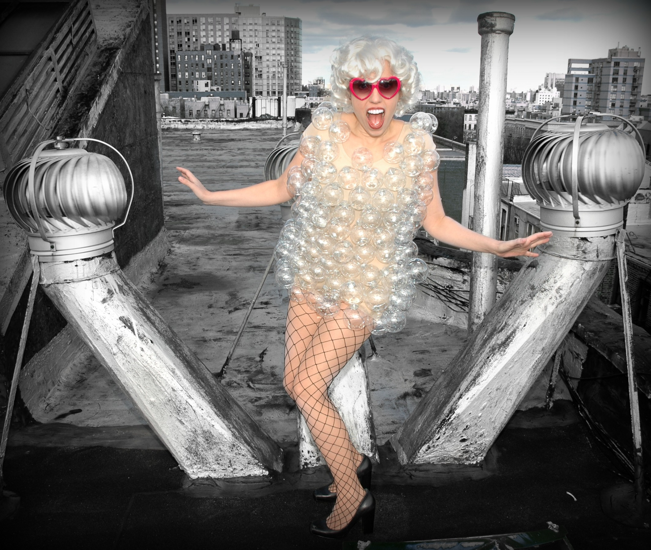 Athena as Gaga in Bubble Dress