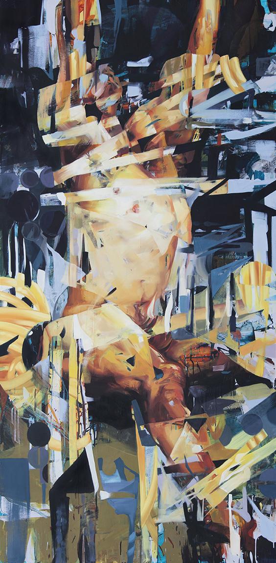 """The Reach. 2016. Oil on panel. 95"""" x 47"""""""