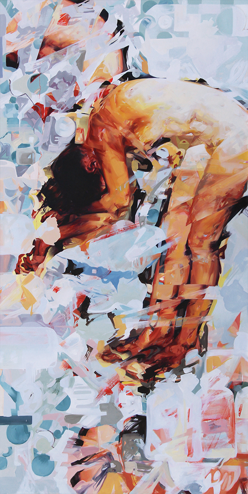 "Fluffy Autotoxicus. 2015. Oil on panel. 95"" x 47"""