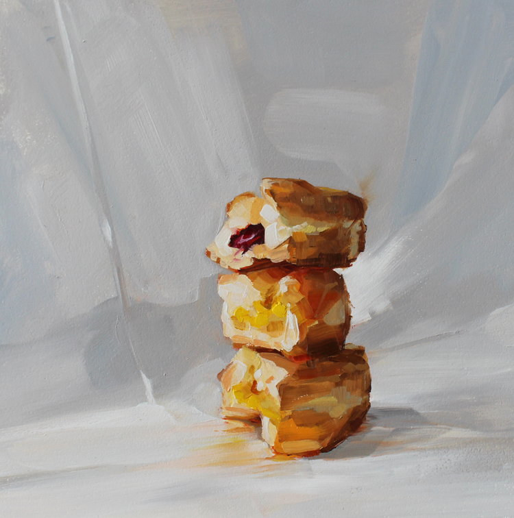 "Jelly Stack. 2015. Oil on panel. 12"" x 12"""