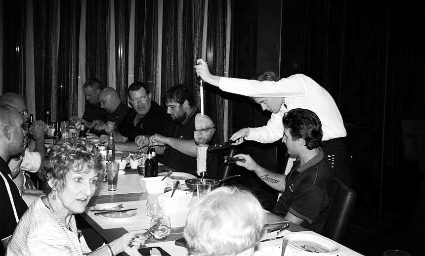 Hunter Galvanizers enjoy a meal
