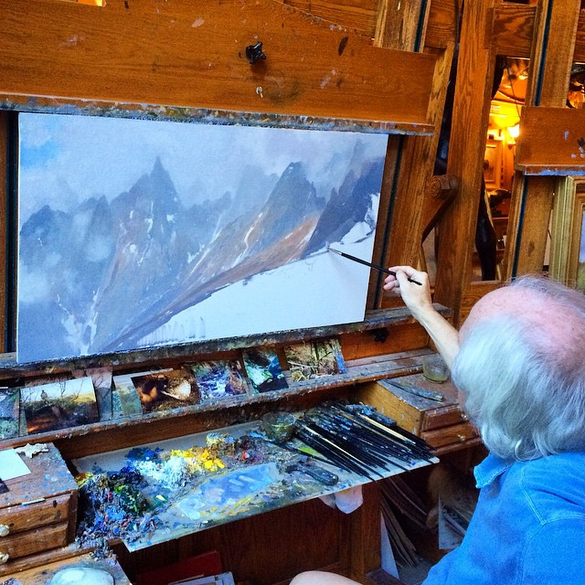New work on Michael's easel, #mountains are his favorite. #michaelcolemanart #colemanart #colemanstudios #fineart