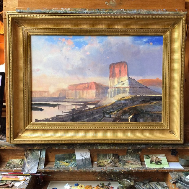 Michael just putting the finishing touches on Castle Butte #colemanart #colemanstudios #fineart #greenriver