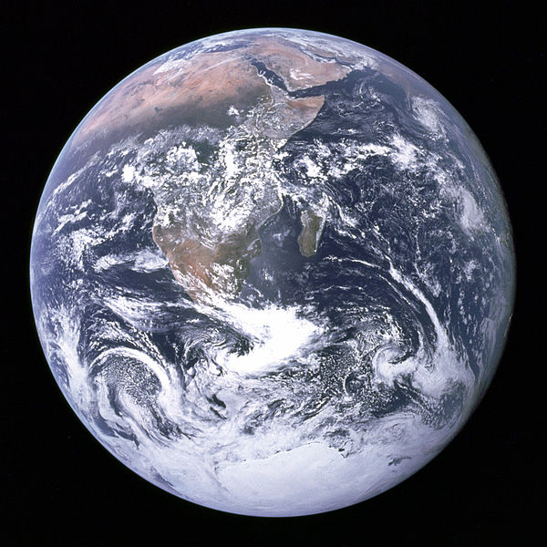 """""""The Blue Marble"""" - taken on December 7, 1972, by the crew of the Apollo 17spacecraft. The image was recorded at about 45,000 kilometers (28,000mi) from the Earth's surface and is often what comes to mind when one mentions """"The Blue Planet""""."""