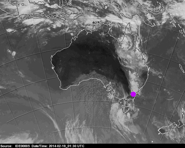 Tropical, convective clouds move over Canberra from the NE (marked by purpled dot)