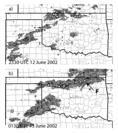 An MCS moves over the Oklahoma Mesonet, where the high-density weather station network is able to sample the thunderstorm outflow environment.