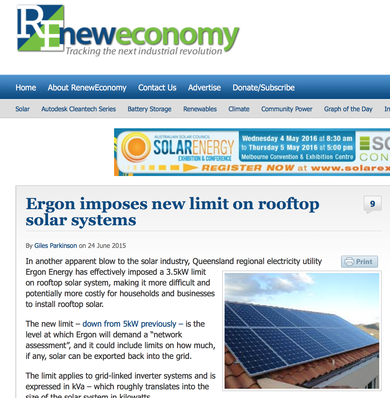 Ergon is limiting the size of individual solar PV systems on parts of their distribution network