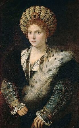 Titian, Portrait of Isabella d'Este, c.1534-1536, oil on canvas, 102 x 64 cm, Kunsthistorisches Museum.