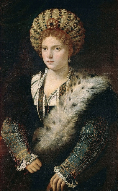 Titian,  Portrait of Isabella d'Este , c.1534-1536, oil on canvas, 102 x 64 cm, Kunsthistorisches Museum.
