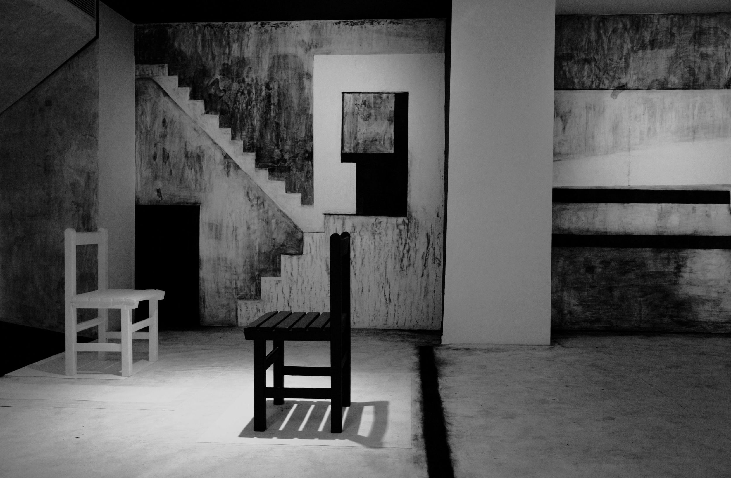 An Other Space Within the House II Scene 1  , Drawing charcoal, emulsion paint, tapes, paper & existing furniture,  Dimensions variable, 2010, Site-specific drawing installation at Kuandu Museum of Fine Art, Taipei, Taiwan.  (Done as part of a two-month Kuandu Museum of Fine Art Residency, June–July 2010) Photo documentation by Tang Ling Nah.