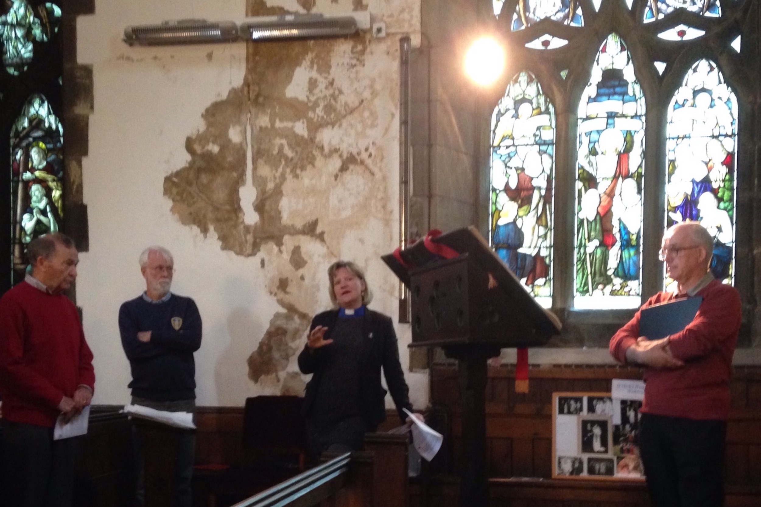Rev. Joanna Seabourne & one of our wardens, Jim Rowland, discuss St Mark's with Graham.