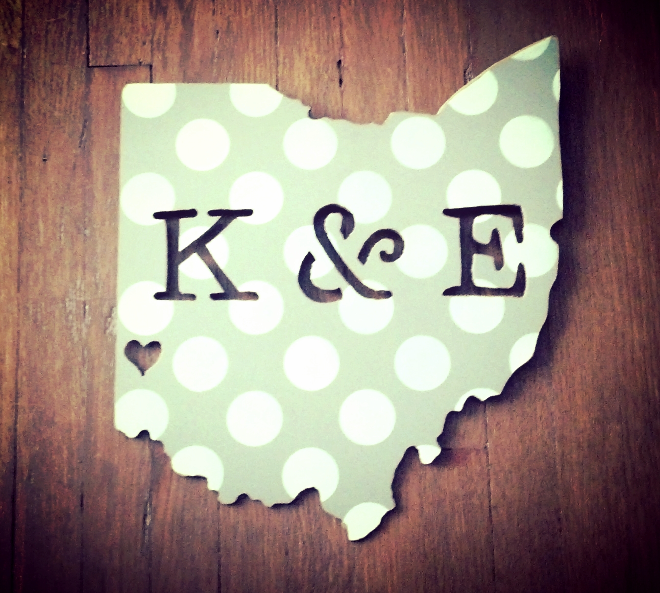 """Custom 12"""" Ohio with initials cut out and a heart over Oxford.    We can create any State with custom letters and a heart over a special place of your choice."""