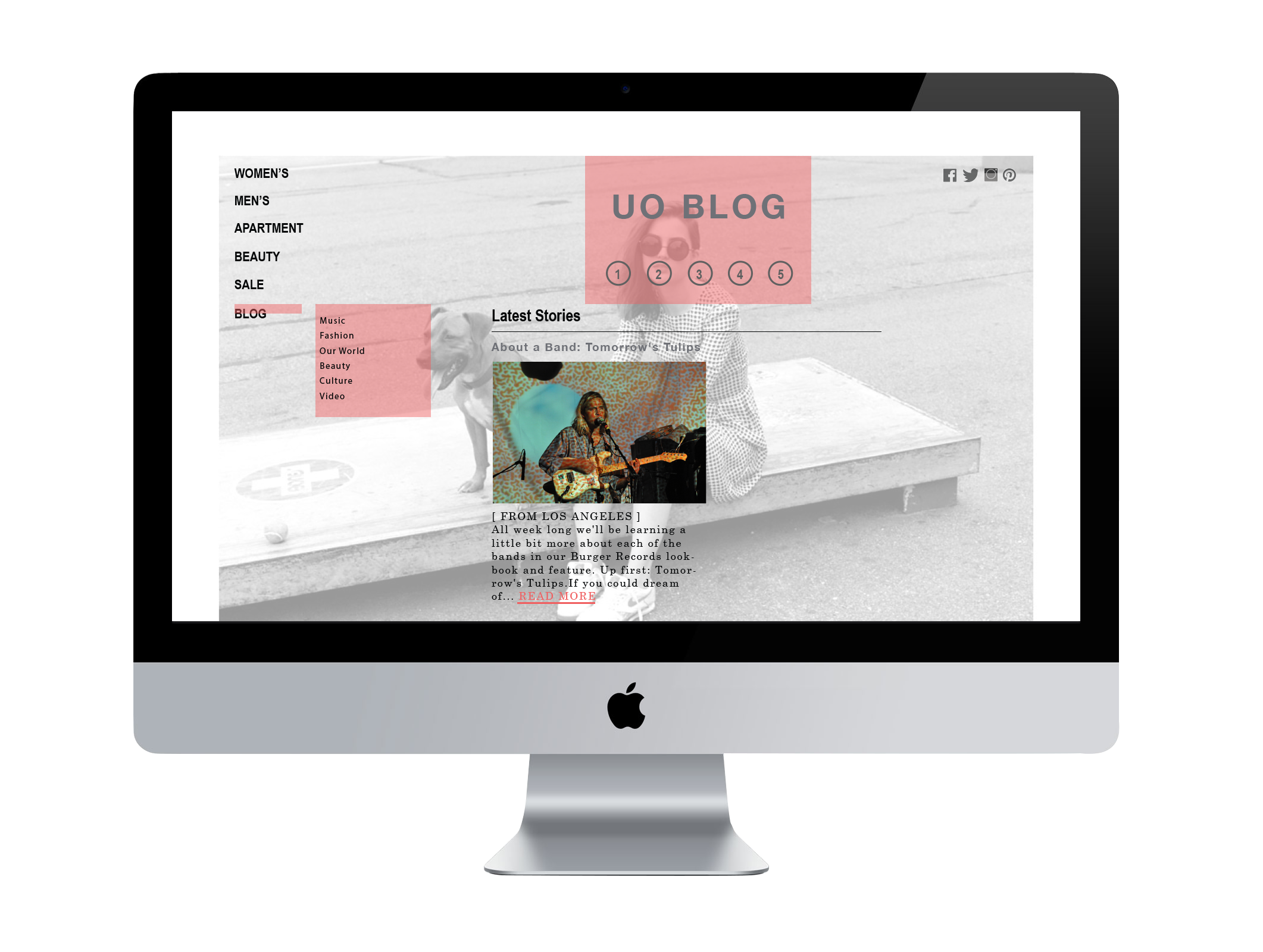 Urban Outfitters website redesign.  *For School Use Only