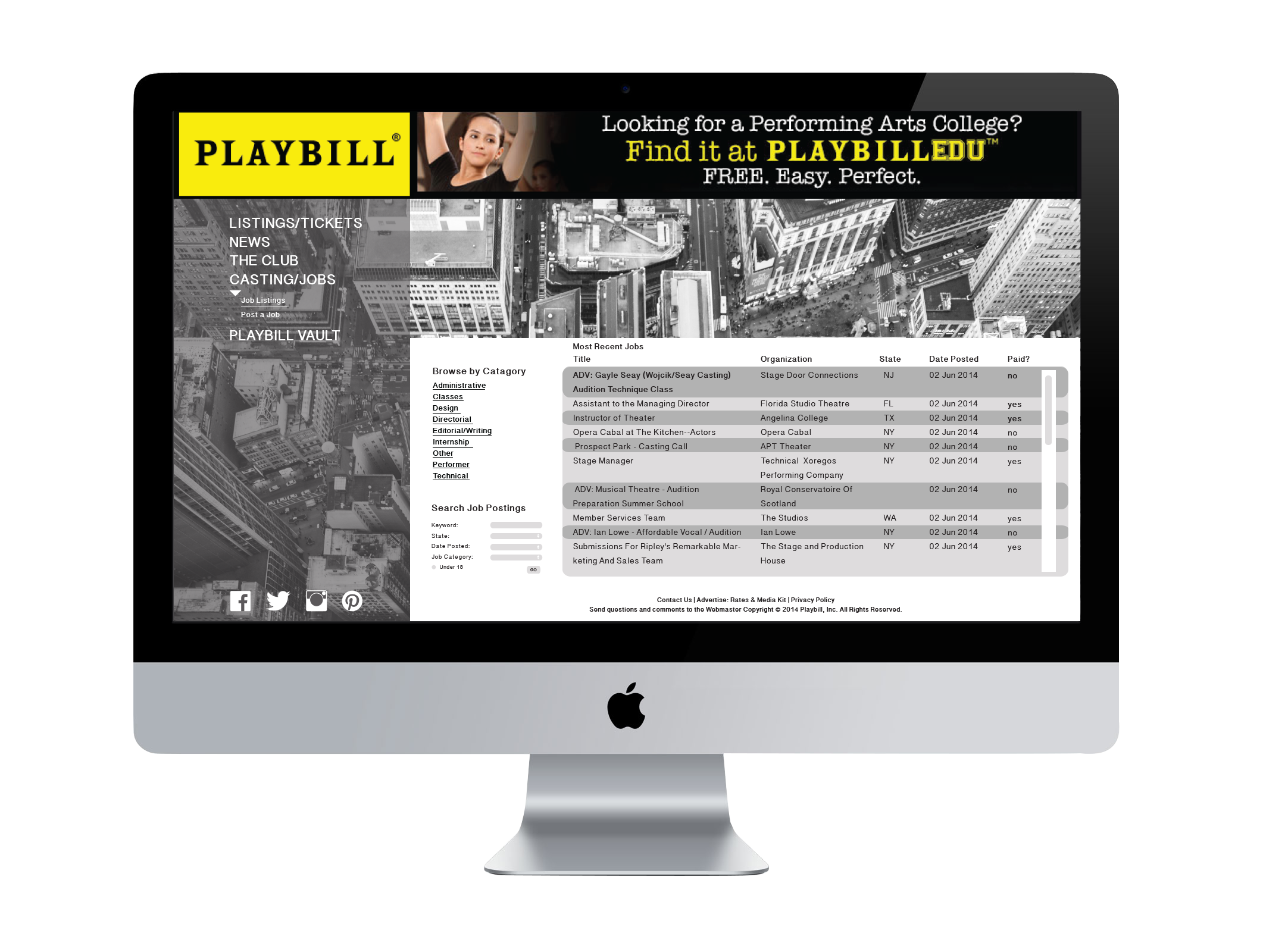 Playbill website redesign.  *For School Use Only