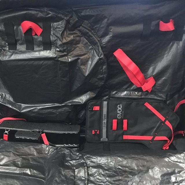 The latest update to our fleet. We're digging the red highlights! What do you think?! @bringyourbike #evoc #bikebag #bringyourbike #mtb #travel #adventure #riding #ridetheworld