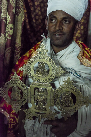 Priest at hilltop monastery, Lalibela