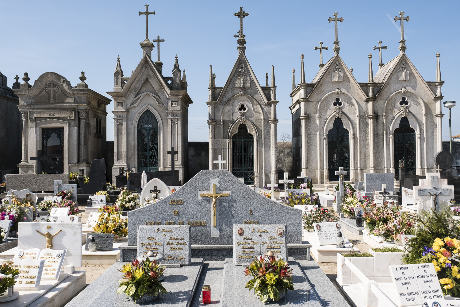 Seaside cemetery, all graves decorated for Easter