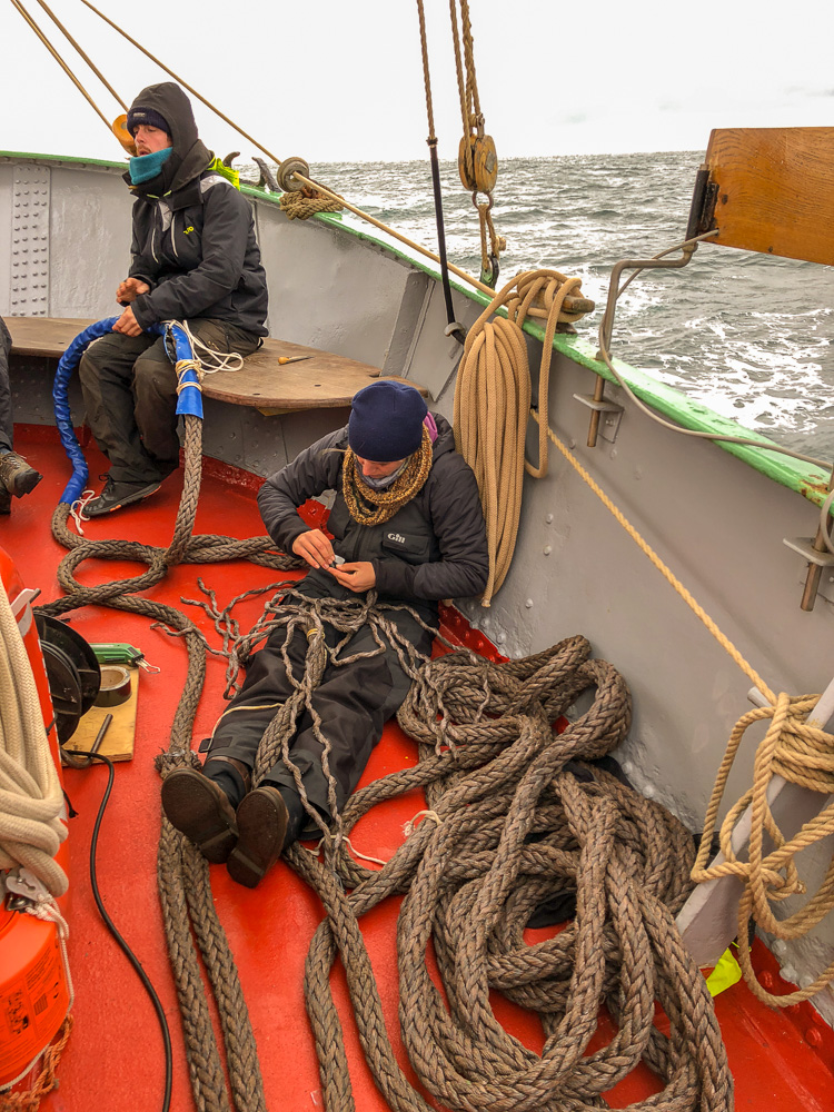 Splicing a hawser at sea, First Mate Martin and Sarah our Canadian deckhand