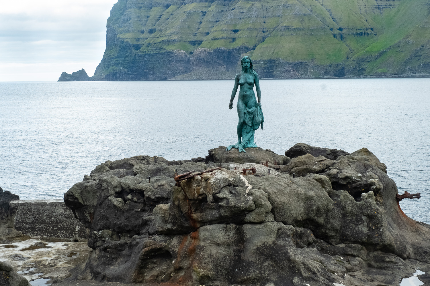 A statue to a Selkie, a creature who was a woman by night and seal by day who cursed the small town where we hiked, for hunting and killing her seal family.