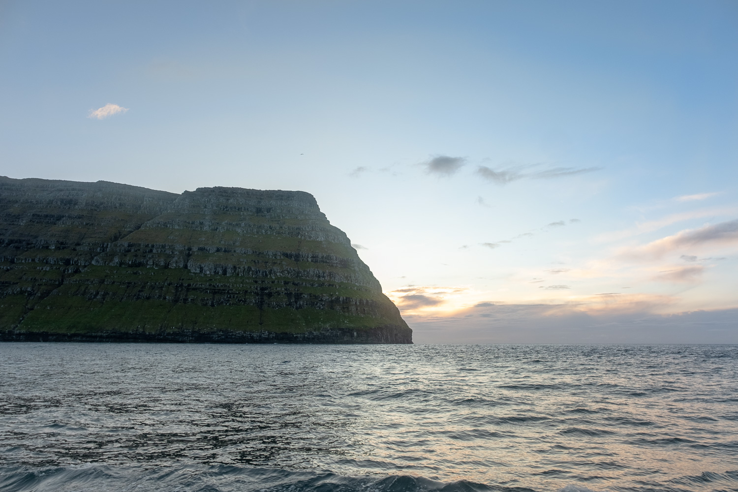 Clearing the headland to leave the Faroes