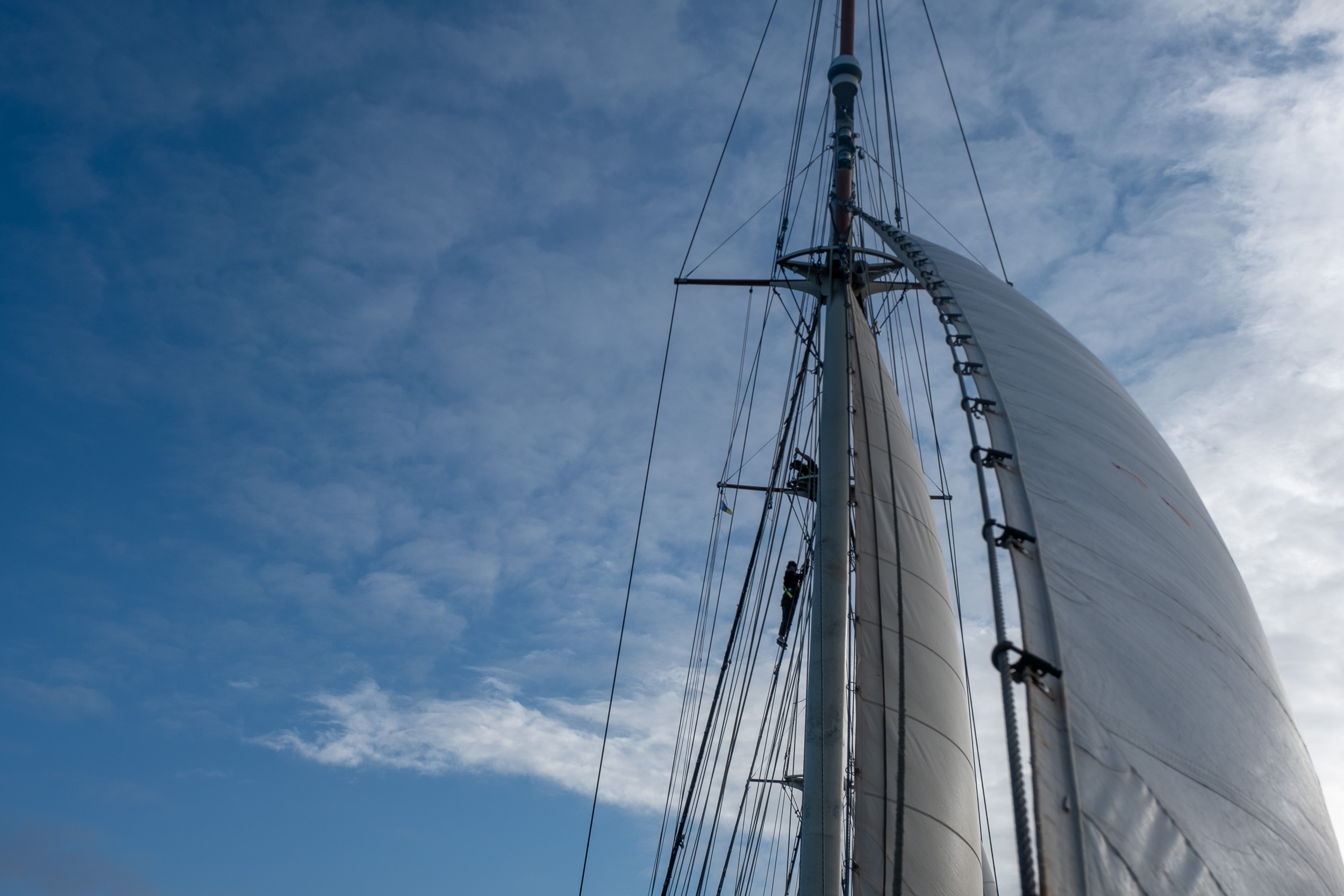 From the bowsprit looking back to the inner jib and watching someone climbing the mast