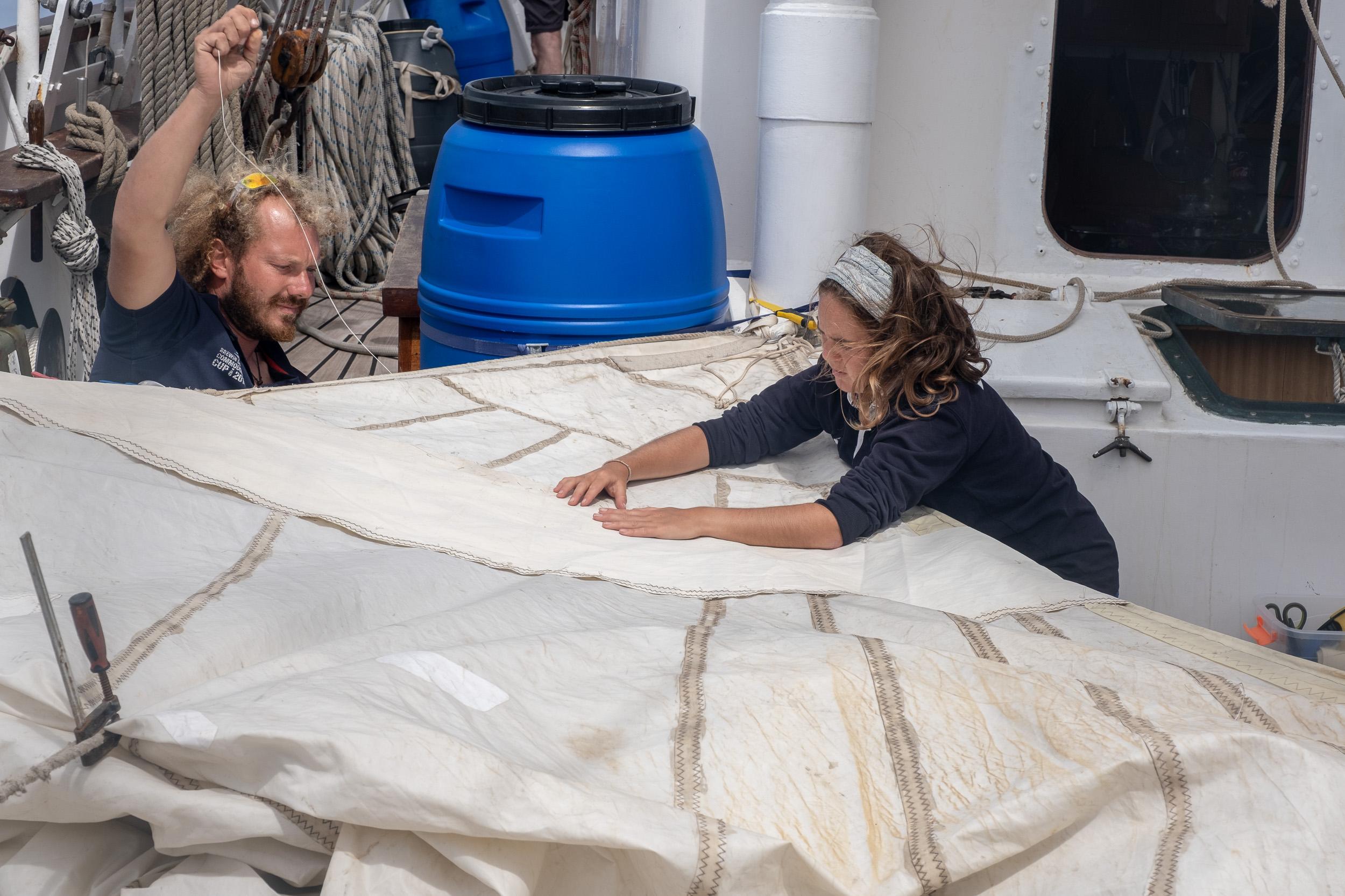 Sail repair at sea