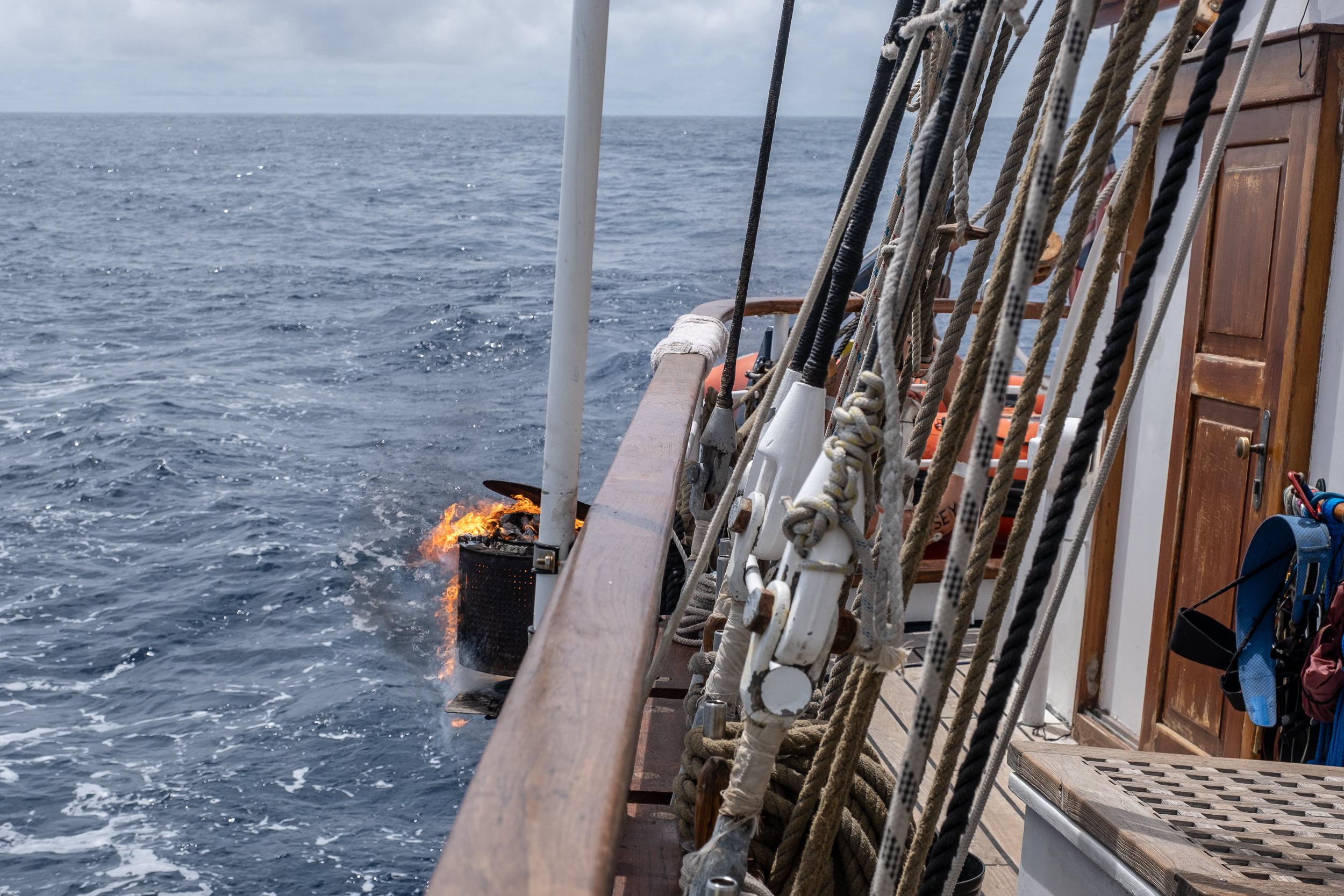 Burning garbage at sea