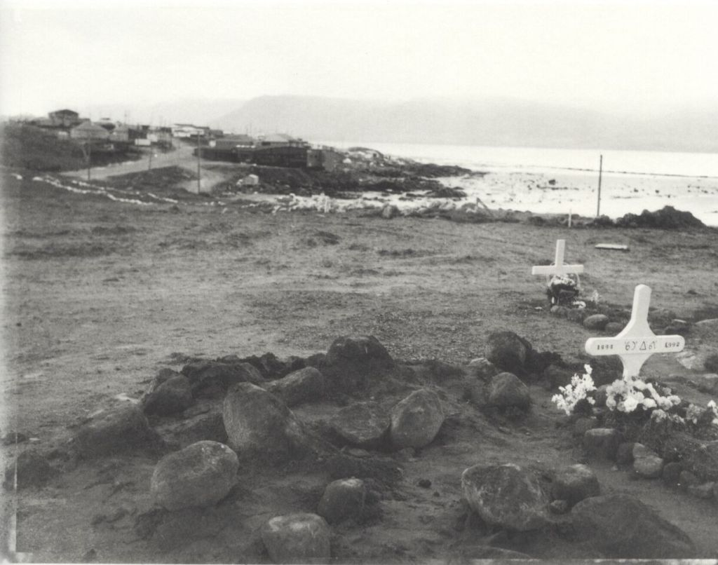 """'End of Pangnirtung Road System"""" by Robert Frank from the book  Pangnirtung ."""