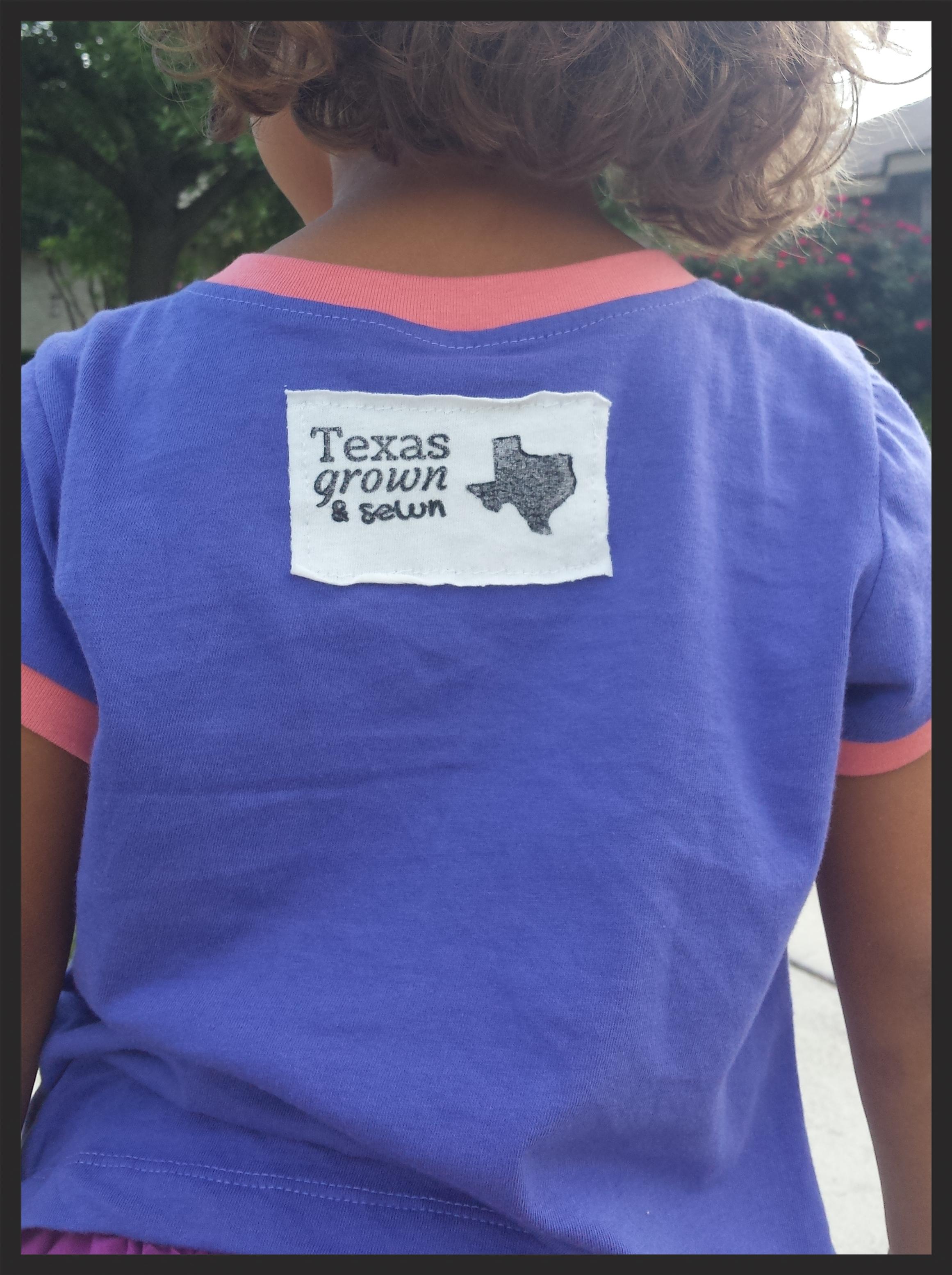 Texas grown and sewn tshirt tee