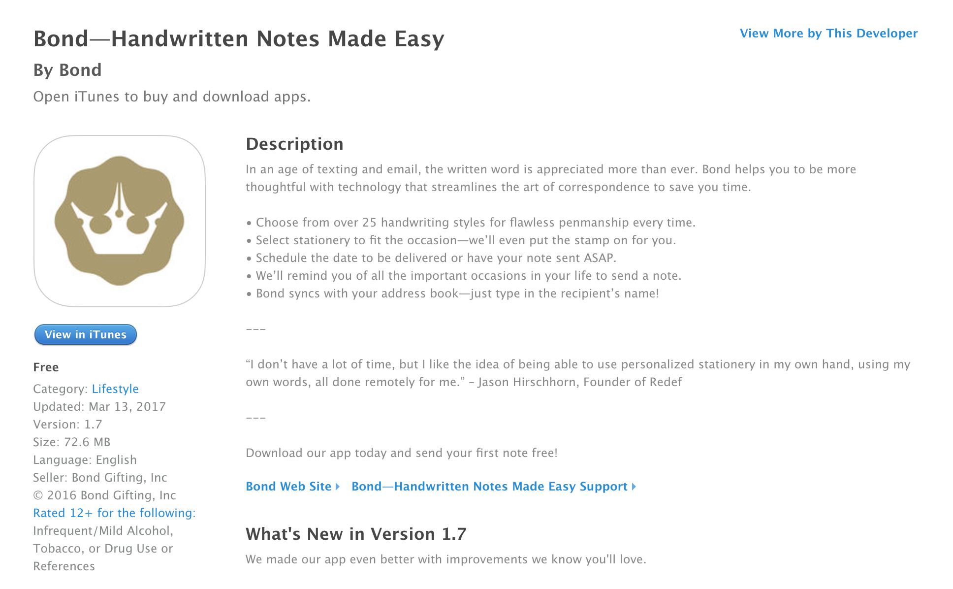 iTunes app store product description (click to expand)