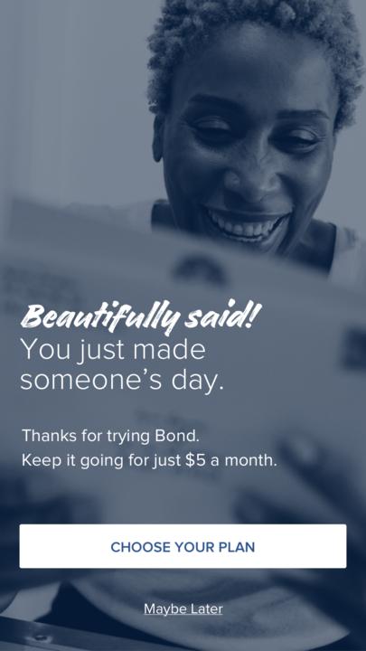 In-app messaging, post-send