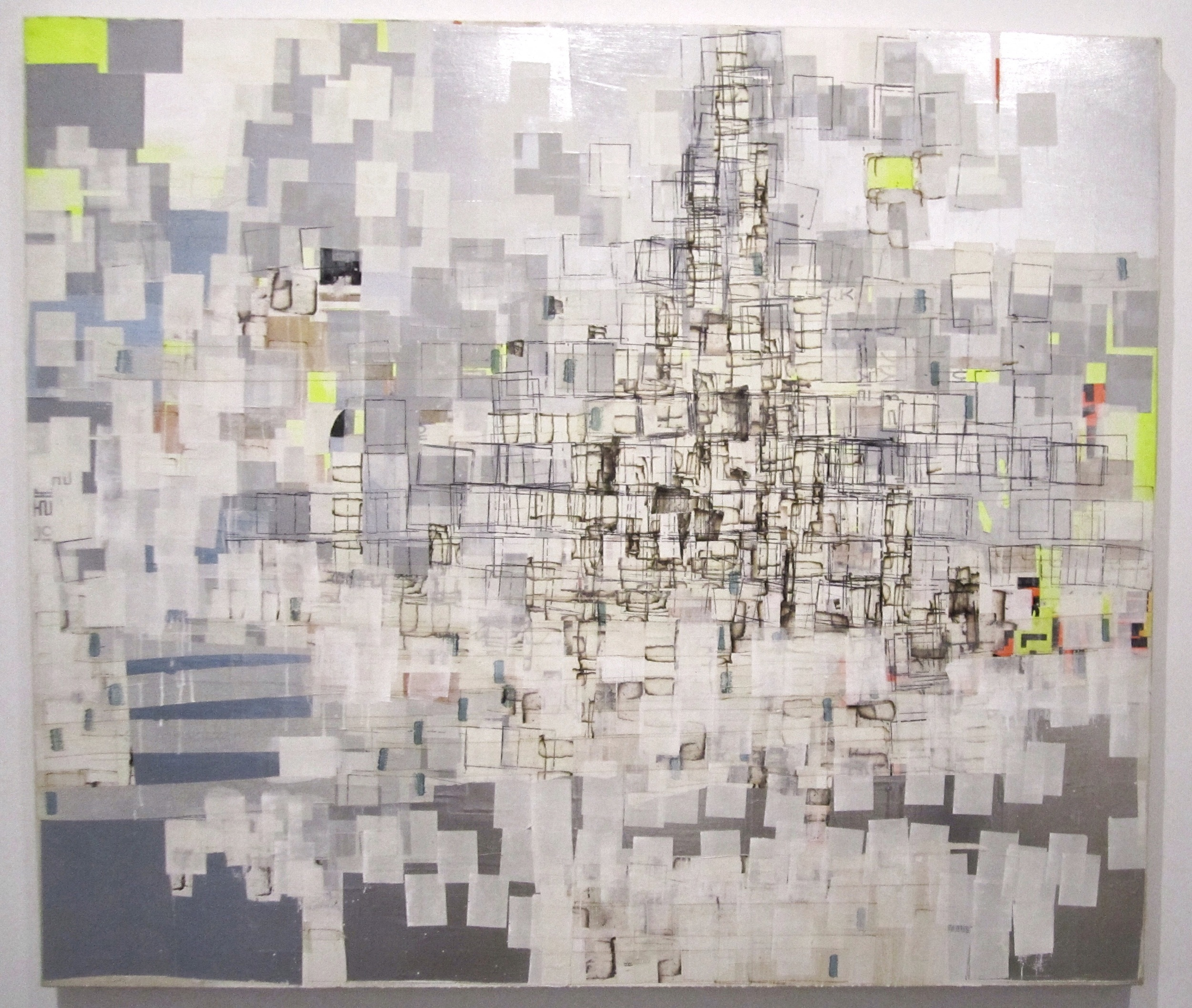 Mark Bradford,  Untitled, 2002. Acrylic, paper-collage, and felt-tip pen on canvas