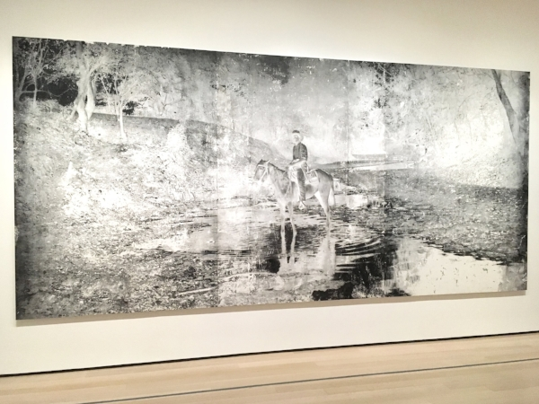 Harold Mendez, (American, born 1977),  Sin nombre,  2017-18. Cotton, graphite, spray enamel, toner, and lithographic crayon on ball-grained aluminum lithographic plate mounted on dibond.