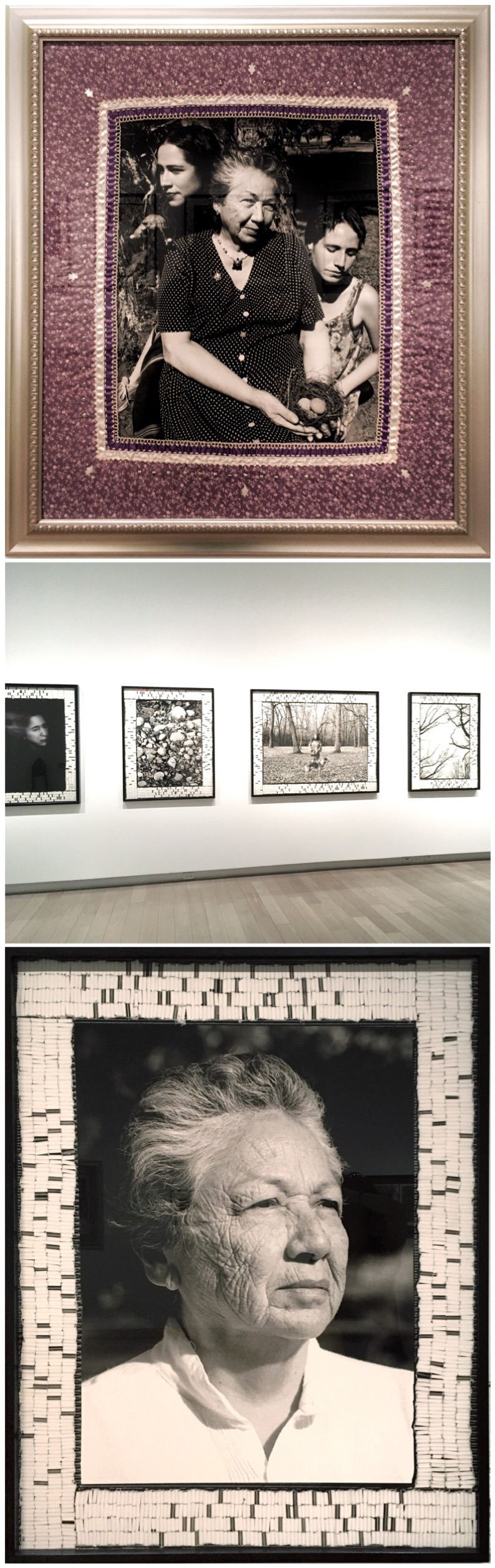 1. Shelley Niro,  Time Travels Through Us,  1999, Gelatin silver print, cotton and beaded mat.  2. Shot of Shelley Niro's exhibition  3. Shelley Niro, image from  Ghosts, Girls Grandmas,  2004-2007, Digital chromogenic print.