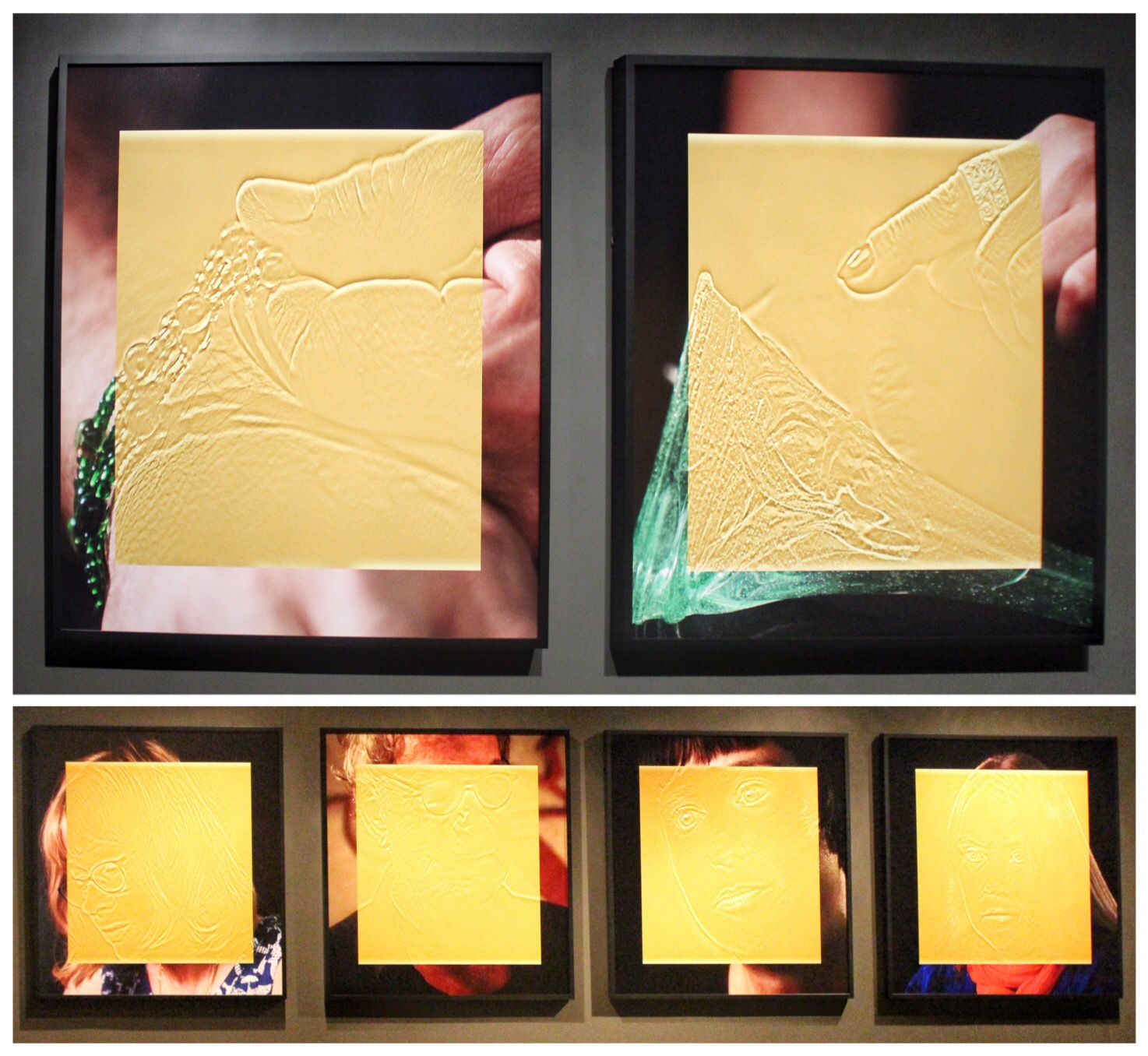 1. & 2. Esther Shalev-Gerz,  The Gold Room  (details), 2016, natural pigments on archival paper.