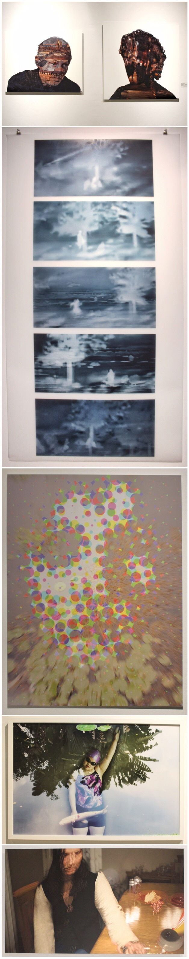 1. (l) Annette Seip,  City Days,  2017, archival pigment print on aluminum dibond.     (r) Annette Seip,  City Nights,  2017, archival pigment print on aluminum dibond.  2. Jan Swinburne,  Marks of Sin,  2018, digital pigment print on translucent mylar.  3. GENOVA,  Taken,  2017, vinyl print on PVC.  4. Brenda Spielmann,  Beauty,   2017, archival pigment print.  5. Brad Necyk,  Just a Hard Rain #11,  2017, archival pigment print on aluminum dibond.
