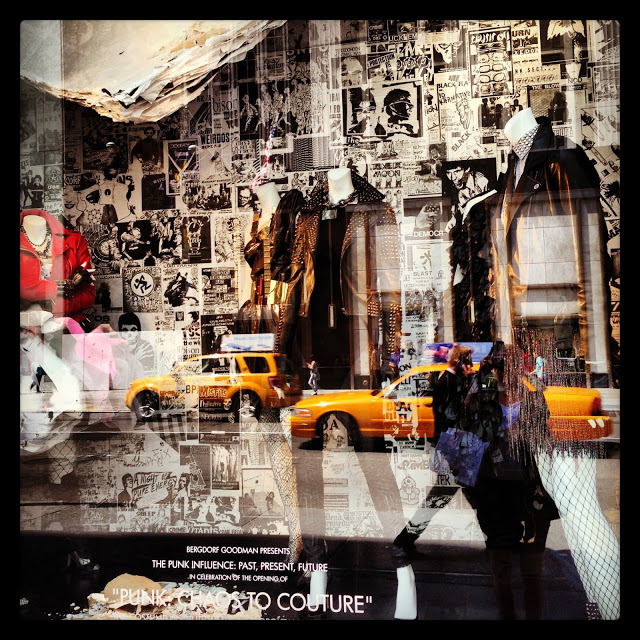 Punk aesthetics hit every major high-ed retailer in NYC-- including these windows at Bergdorf Goodman. Image: D. Barenscott filtered via Instagram